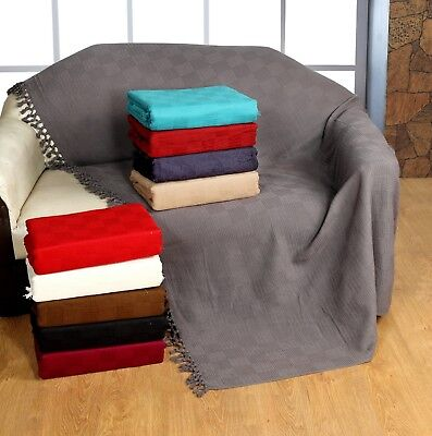 Ascot 100% Cotton Sofa Throws / Bed Throws (Clearance)