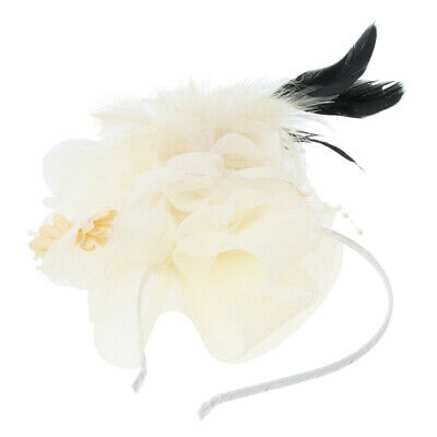 Retro Floral Feather Fascinator Headband Hat Clip Wedding Hair Accessories