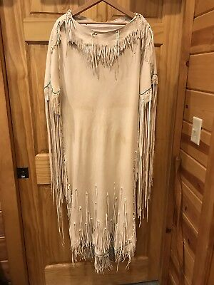 Doeskin Native American Wedding Dress with Leggings and Moccasins