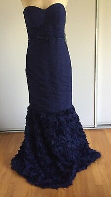 JS COLLECTIONS MERMAID GOWN, NEW W/ TAG, Flowers,Strapless,Pleated,SZ 6,Blue