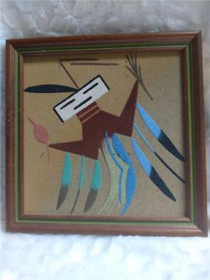 Vintage Navajo Sand Painting Native American Spirit Signed by Thompson