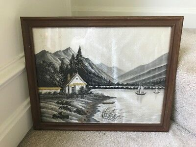 Vintage Asian Silk Embroidered Landscape Boat Mountain Framed Picture Art -RARE