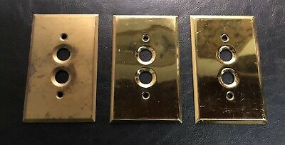 Lot of 3 Antique Solid Brass Push Button Light Switch Cover Plates