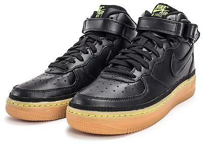 save off cb27d 8880b Nike AIR Force 1 Mid LV8 (GS) Black Gum Brown Volt Trainers Sneakers