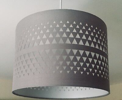*NEW* Pendant Light Lamp Ceiling Shade Light  Pale Grey Gray Fabric Drum Cut Out