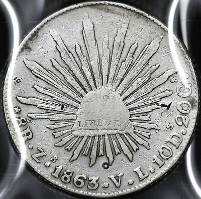 1863Zs-VL EIGHT 8 REALES REPUBLIC OF MEXICO