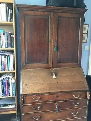 18th Century Oak bookcase/ bureau with original handles