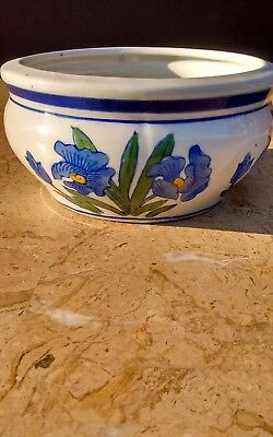 Small Vintage Porcelain/Ceramic AAA Import Planter-With Blue Floral Design