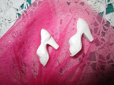 Vtg 1970's Mego Cher White Opentoe High Heel Shoes Euc