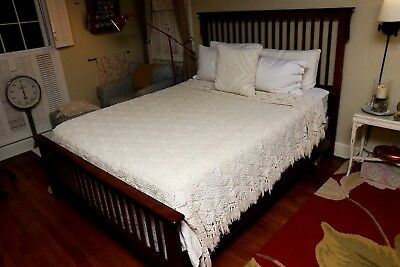 Vintage Queen Handmade Crochet Bed Spread/Coverlet ~ Heavy ~ Cotton