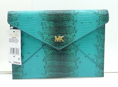 ef1186cb85fe MICHAEL KORS 30S8SB8C6N BARBARA Medium Soft Envelope Clutch Tile Blue  Embossed - $79.95 | PicClick
