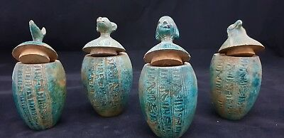 Ancient Egyptian Rare Antique Canopic Jars Sons Of Horus Egypt Carved Stone BC
