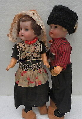 """Beautiful Pair Antique Small Bisque German Boy Girl 8,2"""" Doll"""
