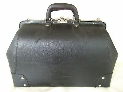VTG black leather large Gladstone Bag steampunk