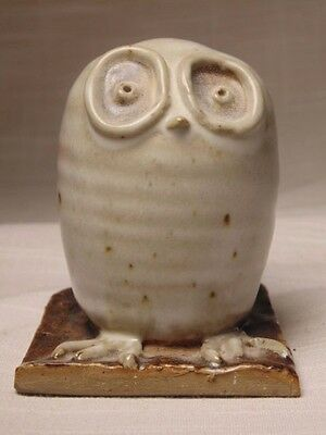 A Vintage Hand Turned & Decorated Stoneware Pottery Owl By Artist T.I. or L.M.