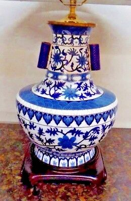 Large Pair Blue & White Cloisonne Porcelain Vase Lamps Chinese/Japanese 26""