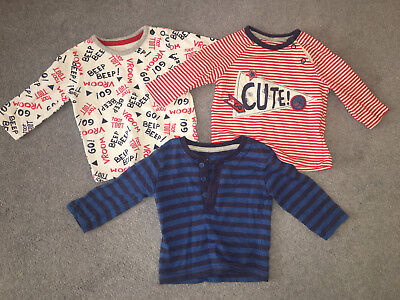 BABY BOYS BUNDLE x3 LONG SLEEVE T-SHIRT TOPS AGE 0-3 MONTHS! WHITE RED NAVY BLUE