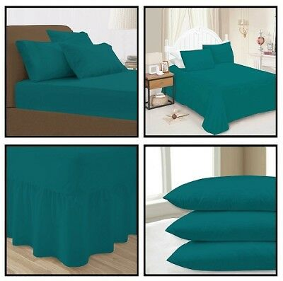 Teal Plain Dyed Fitted Flat Valance Bed Sheets Pillow Case All sizes