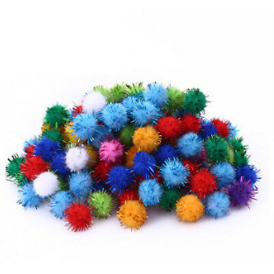 100pcs Soft Round Shaped Pompom Balls Fluffy PomPom For Kids DIY Handcraft QP
