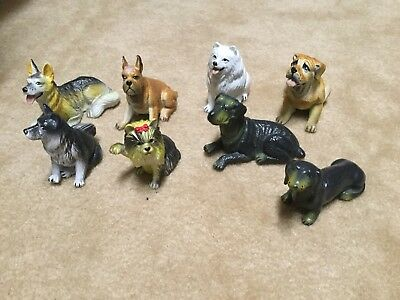 Vintage Plastic Dog Figure Lot of 8 Breeds- New-Ray