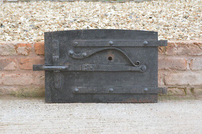 58 x 38.5 cm old cast iron fire bread oven door/doors /flue/clay/range/pizza