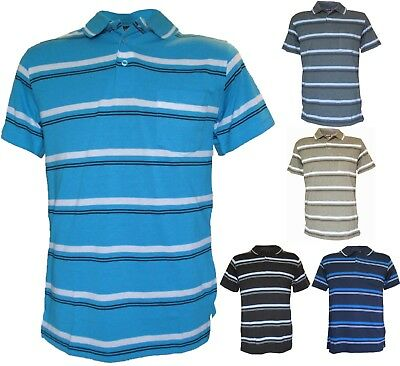 Mens Striped Polo Shirt with Chest Pocket, Size S-XXL