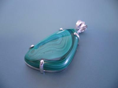 Sterling Silver 925 Superb Large Free Form Malachite Gemstone Pendant - 19G