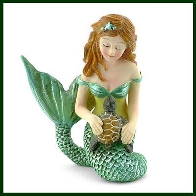 FAIRY GARDEN FUN Mermaid and Sea Turtle Beach Ocean Mini Dollhouse Figurine NEW