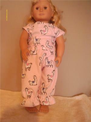"Doll Clothes American Girl 18"" Pajamas Pink Llama Print"