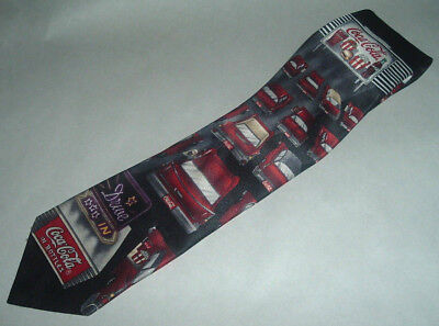 Coca Cola Necktie ~ Drive In Theater Collectable Mens Tie ~ Black, Silver, Red