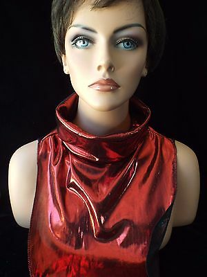 Ladies RED LAME Evening Dickey Turtleneck Collar LAST DAY TO SHIP 12/18