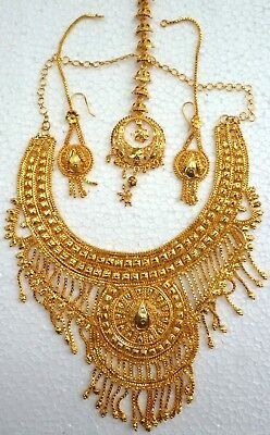 South Indian 22k Gold Plated Designer Necklace Long Earrings