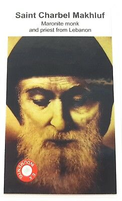 Saint Charbel Makhluf relic card, patron of Maronite monk and priest Lebanon