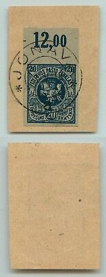 Lithuania 1919 SC 32 used imperf margin with numbers cover cut . d4549