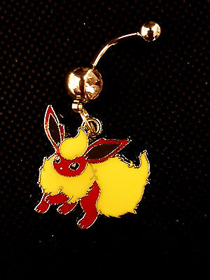 Pokemon flareon Pikachu's friend Belly Ring Navel Ring 14G Surgical Steel Dangle