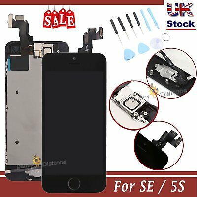 LCD For iPhone SE 5S Screen Black Touch Digitizer Home Button Camera Replacement