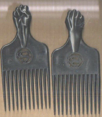 "Afro Comb/pick With Black Power Fist And ""s"" Superman Logo Vintage, But Virgin"