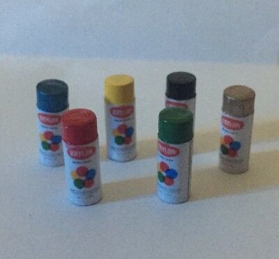 Dollhouse Miniature 6 Realistic Spray Paint Cans Assorted Colors