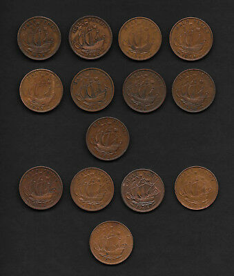 Great Britain Pre Decimal  One Half Pennys  Mixed Lot  of 12
