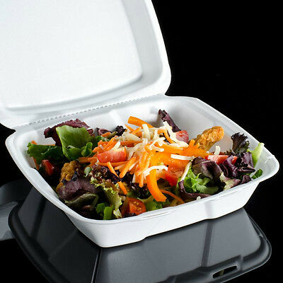 "Foam Hinged Lid Container 8 3/8""x8 1/8""x3"" Deli Lunch Salad Take-out Food 50 Pcs"