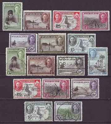 NYASALAND - 1945 KGVI Part sets, mint and used. (G141)