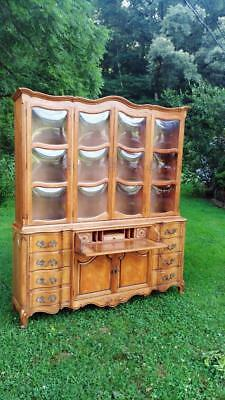 Large Vintage KARGES French Country China Cabinet w/ Butlers Desk & Bubble Glass