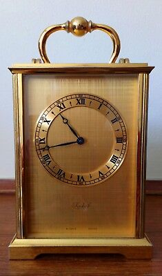 VINTAGE IMHOF  Swiss solid BRASS CARRIAGE CLOCK IN EXCELLENT WORKING CONDITION
