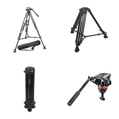 Manfrotto Professional Fluid Video System with Aluminum Legs Mid Spreader Black