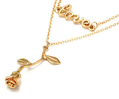 Love Rose Double Layered Gold Plated Necklace Charms Flower Multi layer Message