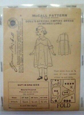 RARE! 1908 McCALL SEWING PATTERN NEVER OPENED!! Doll's special: EMPIRE DRESS