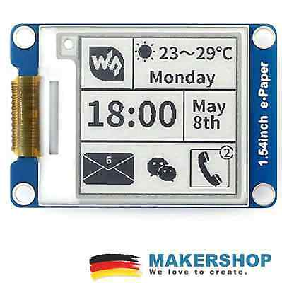 "Waveshare 1,54"" E-Ink 200x200 SPI s/w E-Paper Modul Display Arduino Raspberry Pi"