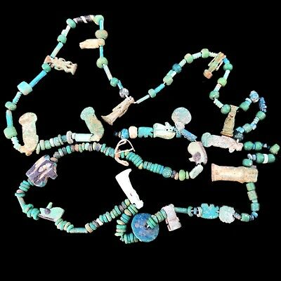 Ancient Egyptian Necklace With Beautiful Amulets, Late Period 664 - 332 Bc