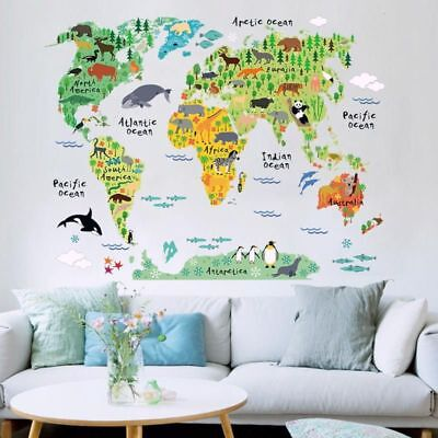 Animal World Map DIY Wallpaper Home School Office Funny Removable Kids Stickers