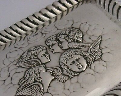 ENGLISH EDWARDIAN SOLID SILVER REYNOLDS ANGELS TRAY 1906 ANTIQUE 200g ANTIQUE